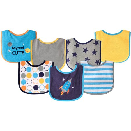 Luvable Friends Baby Boys' 7-Pack Bibs - navy/multi, one size