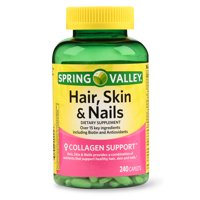 Spring Valley Hair, Skin & Nails Caplets with Biotin & Antioxidants, 3000 mcg, 240 Count