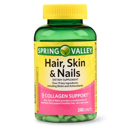 Skin Biotin Supplement (Spring Valley Hair, Skin & Nails Caplets with Biotin & Antioxidants, 3000 mcg, 240)