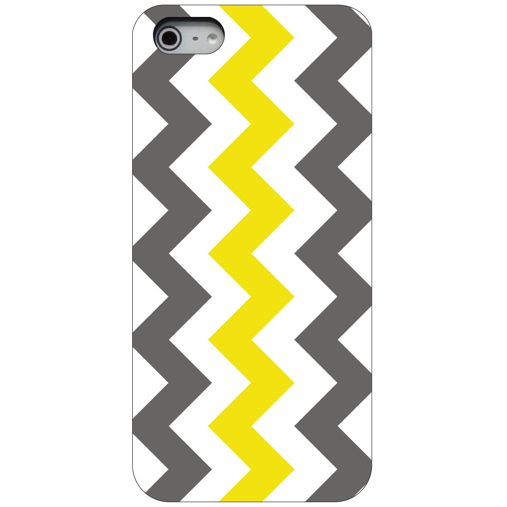 CUSTOM Black Hard Plastic Snap-On Case for Apple iPhone 5 / 5S / SE - Grey Yellow Chevron Stripes