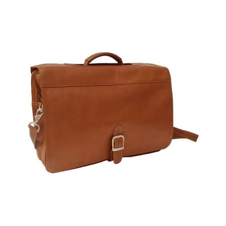 Leather Briefcase w Full Organizer & Business Card Slots in Saddle