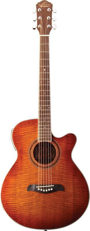 Oscar Schmidt Concert Folk Acoustic Electric Guitar, Flame Yellow, OG10CEFYS by Oscar Schmidt