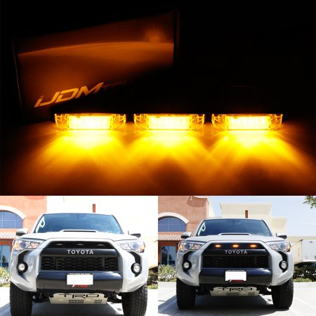 iJDMTOY 3pcs Smoked Lens Amber LED Grille Marker Lights w/Wiring For 2012-up Toyota Tacoma or 2014-up Toyota (Free Amber Lens)