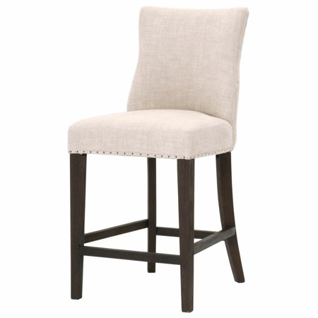 Maklaine Counter Stool in Bisque French Linen and Rustic Java Oak