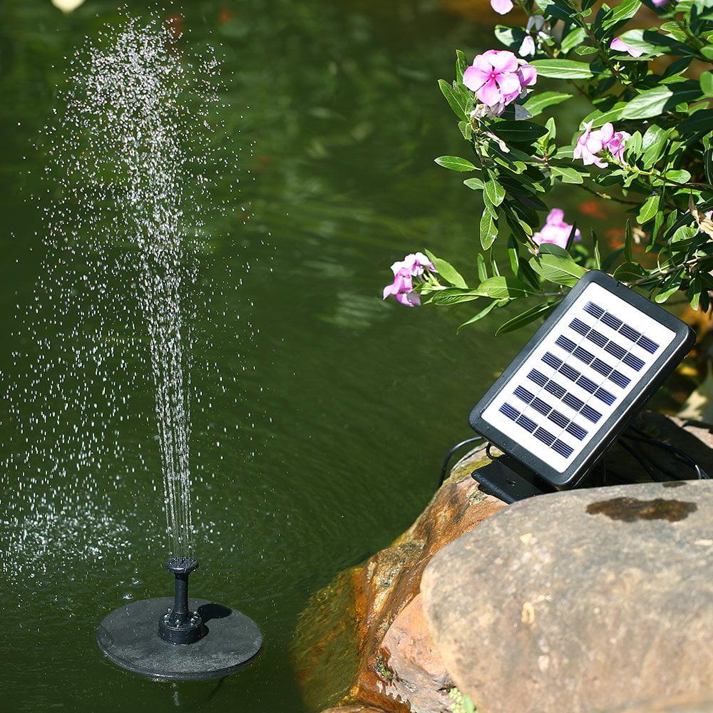 Outdoor Solar LED Fountain Powered Water Pump Bird Bath Pond Floating Garden V