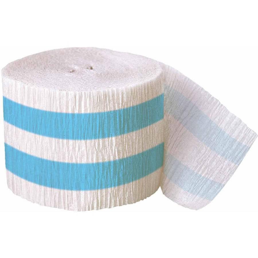 30ft Crepe Paper Light Blue Striped Part