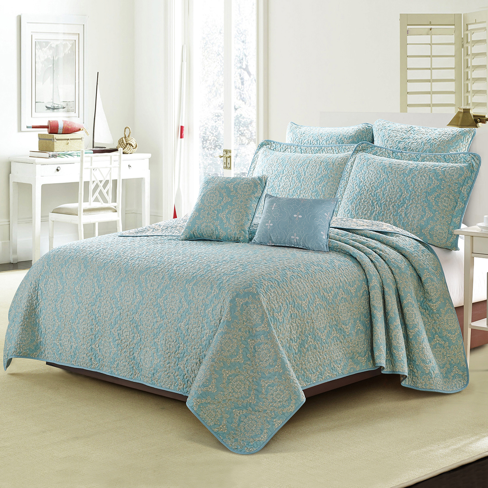 Home Soft Things Serenta Printed Microfiber 7 Piece Mystic Bedspread Quilts Set