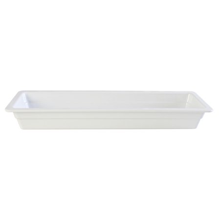 Jam Tray - Thunder Group GN1222W, 2/4 Size 2 1/2-Inch Deep Melamine Ani-Jam Food Pan, White