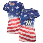 Kyle Busch Women's Sublimated Americana Scoop Neck T-Shirt - Royal/Red