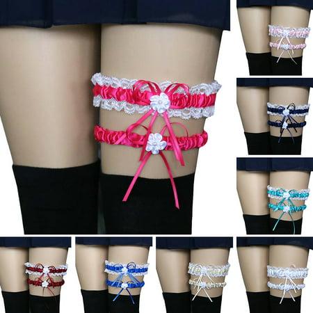 (Asian Size)2Pcs/Set Women Bowknot Lace Garter Sexy Bridal Leg Garter Wedding Cosplay Decor