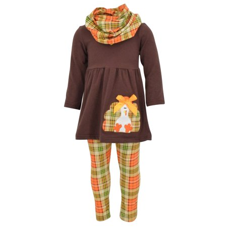 Cute Thanksgiving Outfits For Women (Girls 3 Piece Turkey Fall Colors Thanksgiving Legging Set)