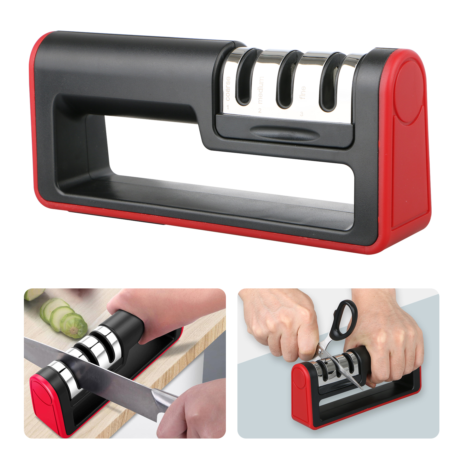 Knife Sharpener Kitchen Sharpening System Tool Non-Slip Rugged Grip 3 Stage