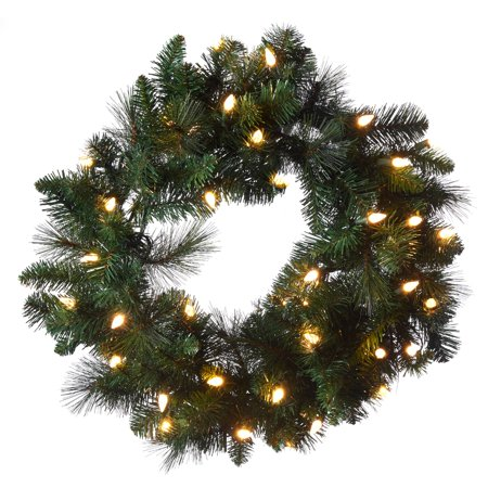 Prelit Christmas Wreath.Holiday Time Pre Lit Brownsville Pine Artificial Christmas Wreath With Led Lights 24