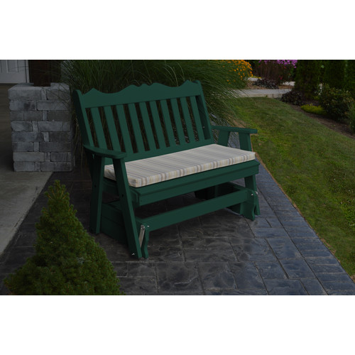 A & L Furniture Royal English Recycled Plastic 4 ft. Outdoor Glider Set