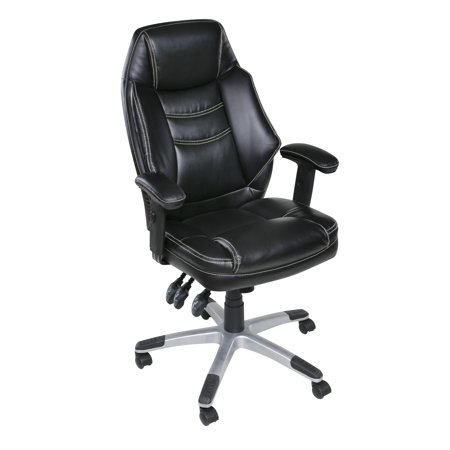 Jefferson Plush Executive Chair with Adjustable Padded Armrests, Black
