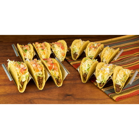 Taco Tuesday TTTH4SS Stainless Steel 4-Piece Taco Holder Tray Set, Holds Up To 12 Tacos, Dishwasher, Oven And Grill Safe, Use As Baking Rack