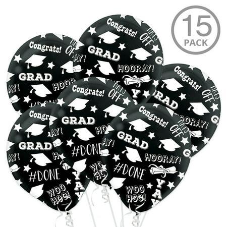 Black Graduation Latex Printed Balloons (15 - Graduation Ballons