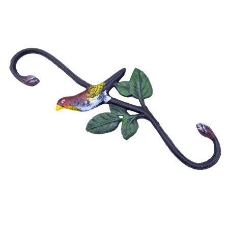 "Cast Iron S Style Plant Hook - Colorful Bird - 11.75"" Long"