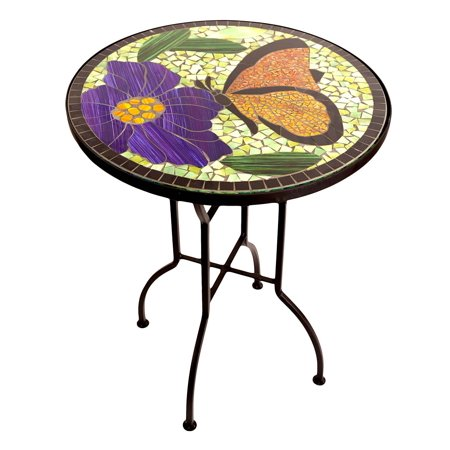 Vibrant Mosaic-top Butterfly Garden Indoor/Outdoor (Pearl Butterfly Table)