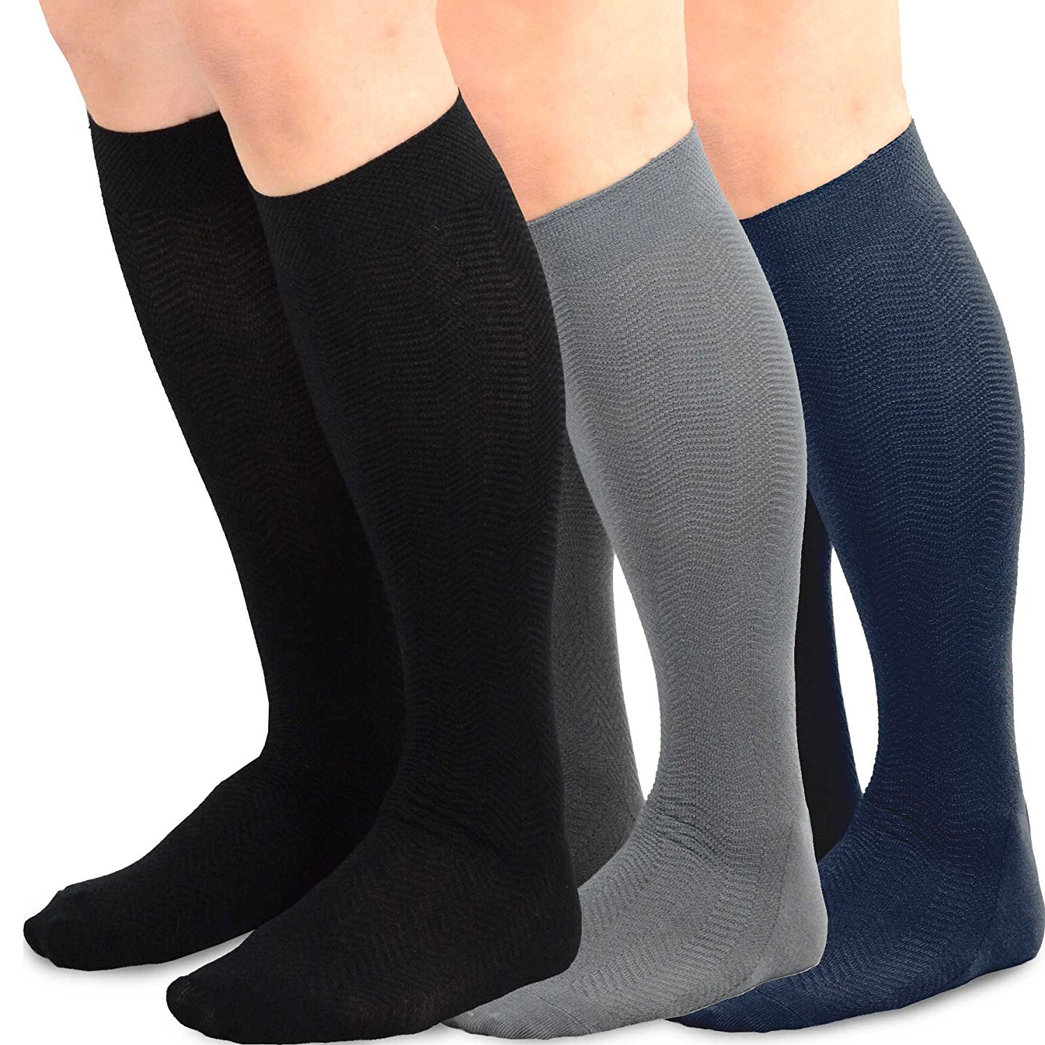 TeeHee Men's Bamboo Crew Dress Socks 3-pack