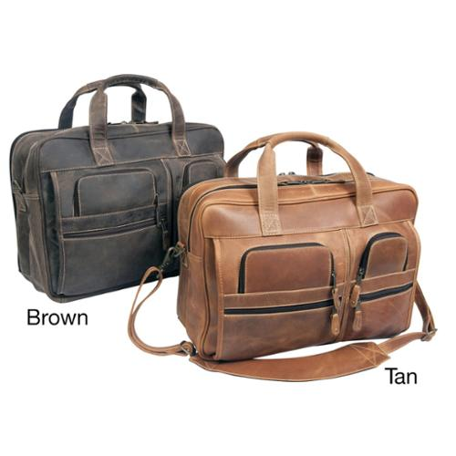 Canyon Executive 16-inch Leather Laptop Computer Briefcase Distressed Brown