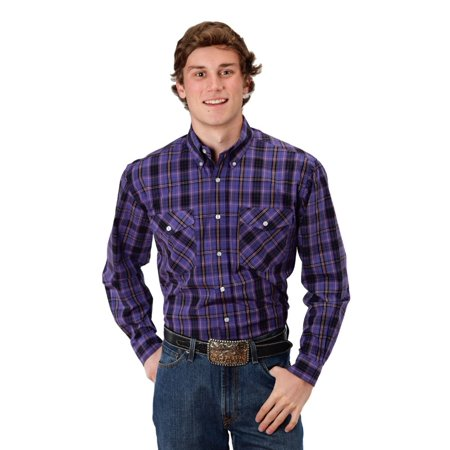Roper Western Shirt Mens L/S Plaid Snap Purple 03-001-0278-0035 PU