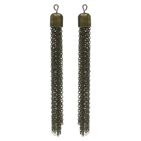 Chain Tassel Pendant, Cable Link Threads with Bell End Cap and Loop 77mm, 2 Pieces, Antiqued Brass