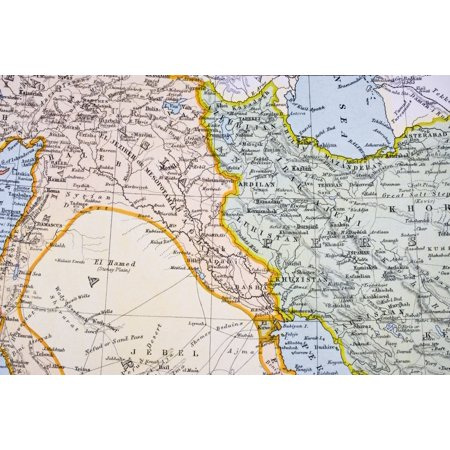 Partial Map Of Turkey Kurdistan Iraq Persia Middle East In 1890S From The Citizens Atlas Of The World Published London Circa 1899 Canvas Art - Ken Welsh Design Pics (18 x 12)