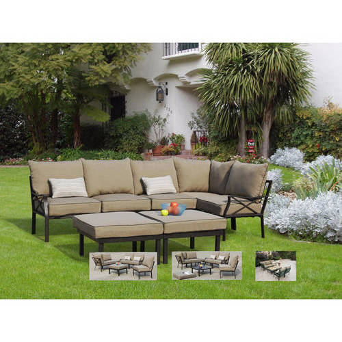 Good Mainstays Ragan Meadow II Piece Outdoor Sectional Sofa Seats Walmart