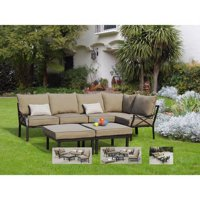 Deals on Mainstays Sandhill 7-Piece Outdoor Sofa Sectional Set, Seats 5