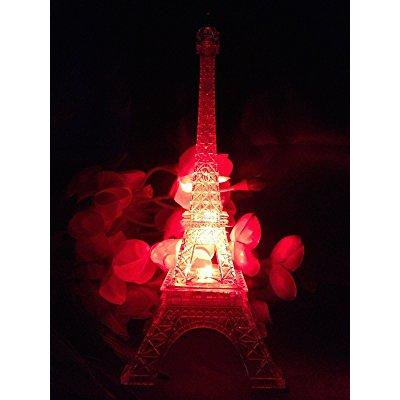 9 inch light up acrylic led eiffel tower souvenir w/ build in multicolor led lights. battery included | centerpiece decor](Light Up Centerpiece)