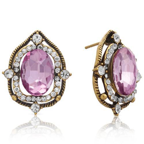 Adoriana Ornate Pink Topaz Halo Stud Earrings, Gold Overlay, Pushbacks