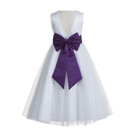 e621c574109 Ekidsbridal - EkidsBridal V-Back Lace Edge White Flower Girl Dresses Silver  Baptism Dress Birthday Girl Dress Ball Gown Communion Dresses 183T -  Walmart.com