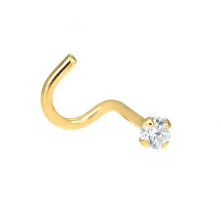 14K Yellow Gold CZ Prong Nose Ring Stud Nostril Screw Twist Curve - 24 Gauge