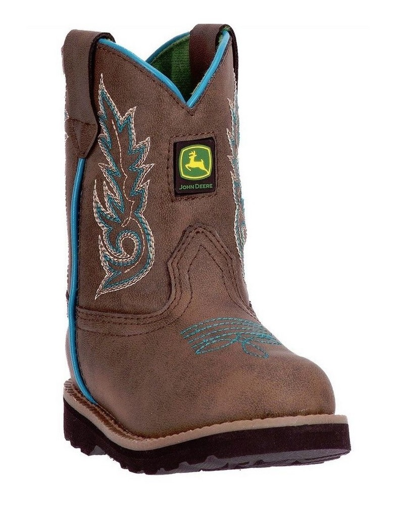 John Deere Western Boot Boy Kids Round Toe Distressed Turquoise JD1032 by John Deere