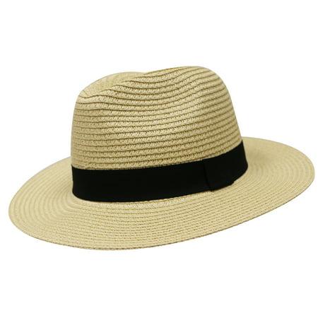 City Hunter Pms580 Women Panama Straw Floppy Fedora Hat - Natural