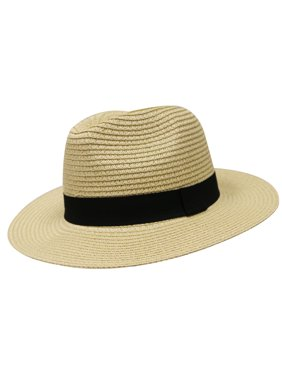 City Hunter Pms580 Women Panama Straw Floppy Fedora Hat - Natural