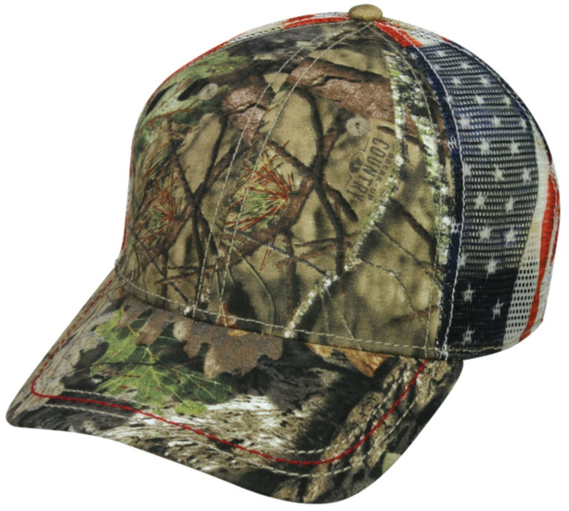 Mossy Oak Country Camo Americana Mesh Back Hunting Hat by Outdoor Cap