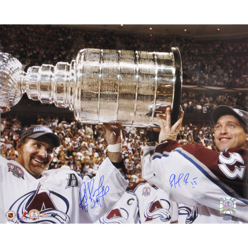 NHL - Patrick Roy and Ray Bourque Colorado Avalanche - Holding Stanley Cup - Autographed 16x20 Photograph