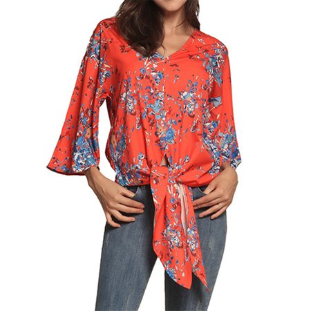 Floral Print Empire Tie Top - Women 3/4 Sleeve Floral Print Blouse Tie Front Tops