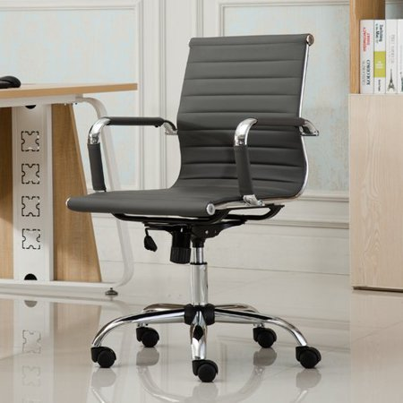 Roundhill Furniture Panoton Chromel Contemporary Low Back Office Chair,