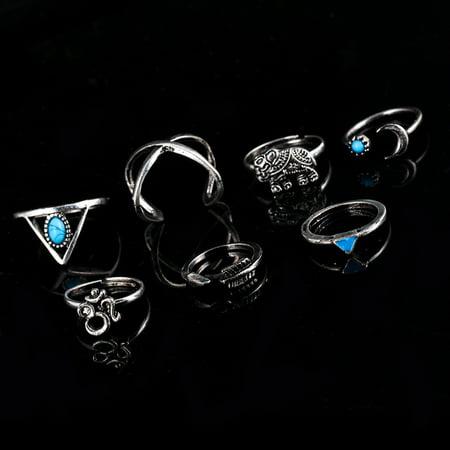 7 Pcs Women Stylish Bohemian Style Ring Retro Elegant Ring Ornament - image 1 of 7