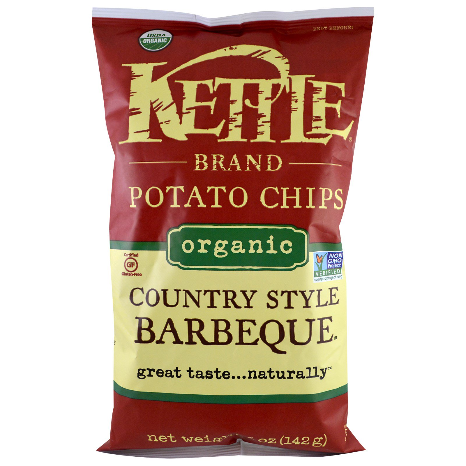 Kettle Foods, Organic Potato Chips, Country Style Barbeque, 5 oz (pack of 6)