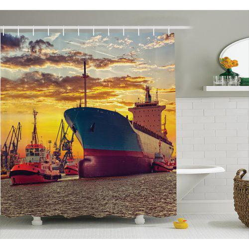 East Urban Home Giant Ship Nautical Decor Shower Curtain