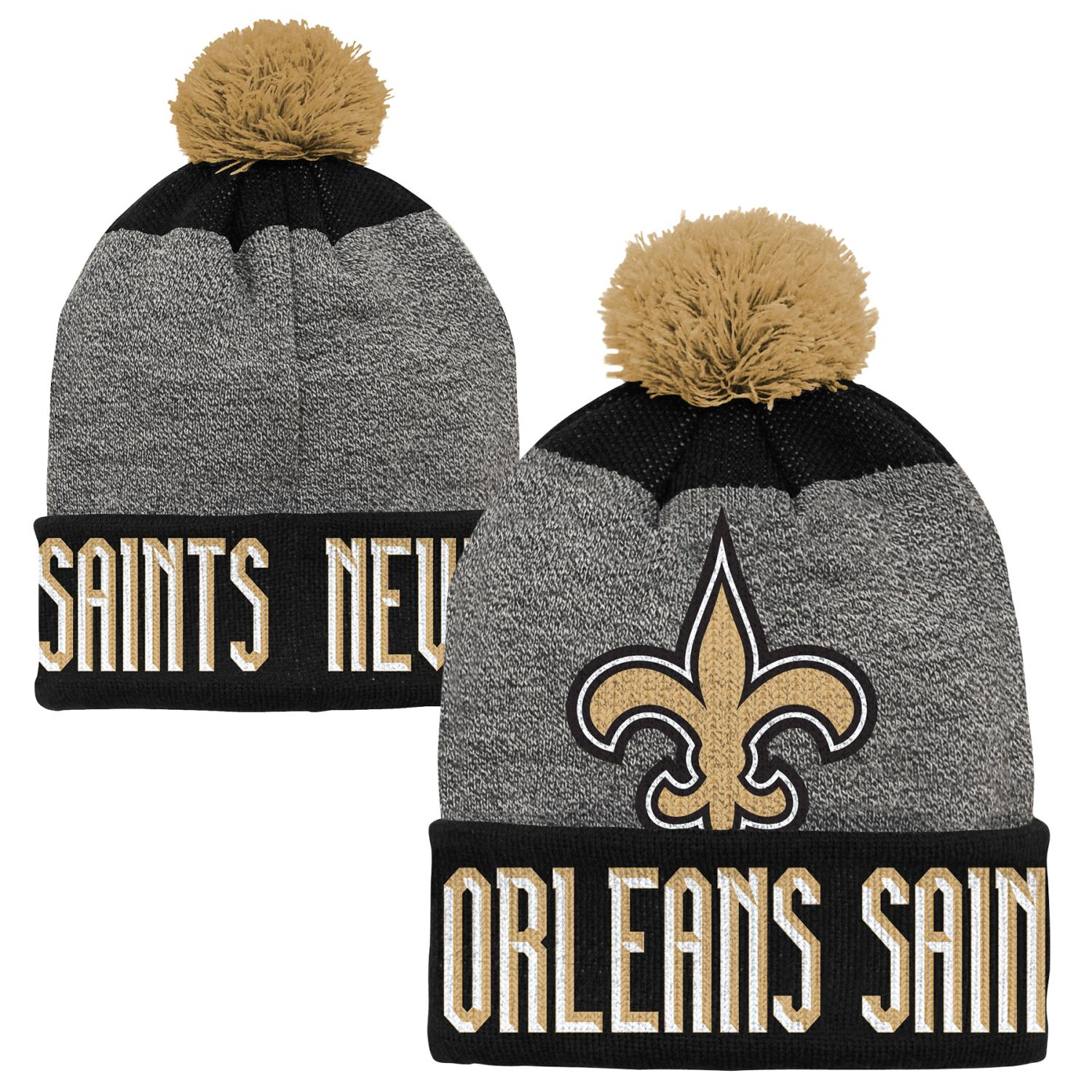 """New Orleans Saints Youth NFL """"Ultimate"""" Cuffed Knit Hat w/ Pom"""
