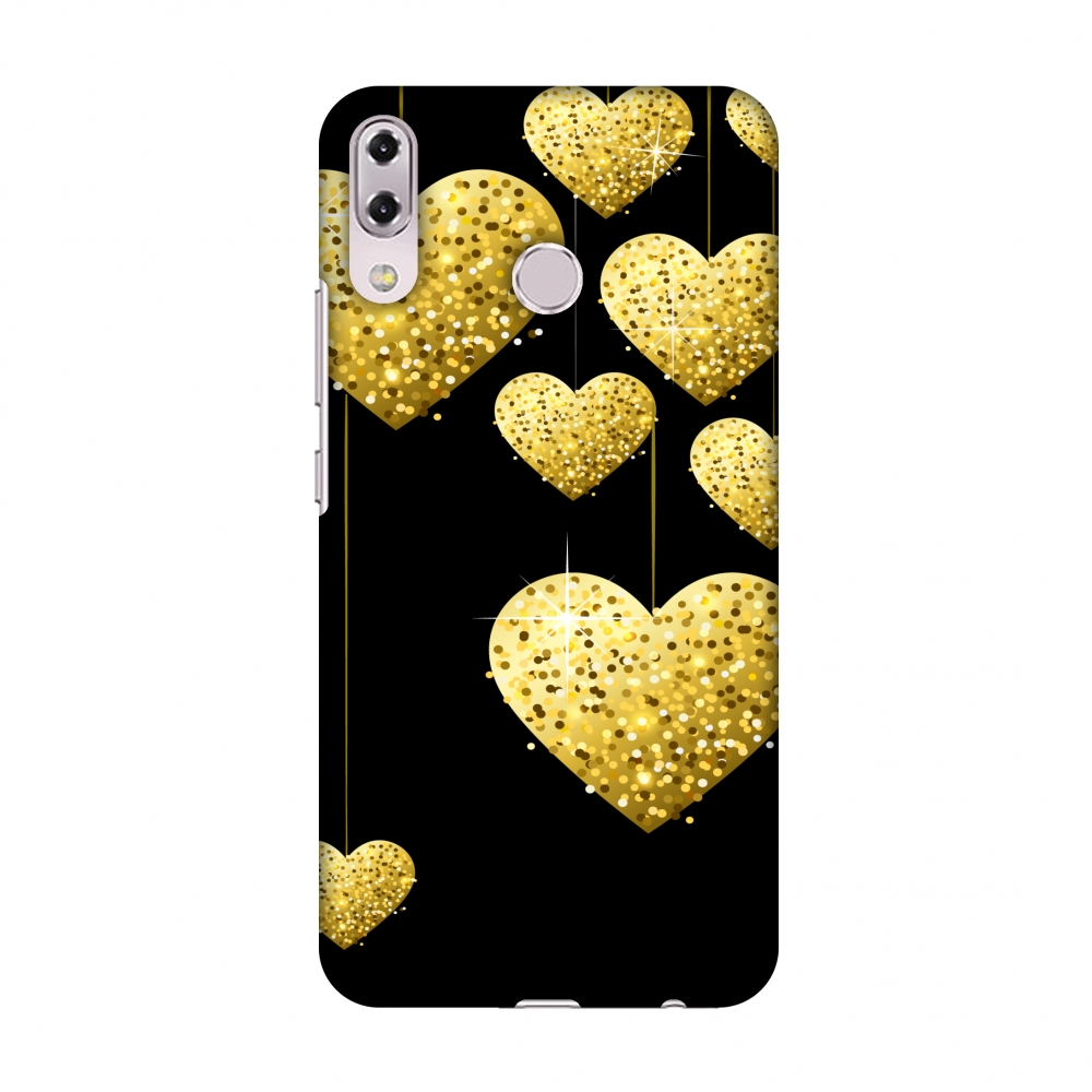 Asus Zenfone 5Z ZS620KL Case - Golden Hanging Hearts, Hard Plastic Back Cover, Slim Profile Cute Printed Designer Snap on Case with Screen Cleaning Kit
