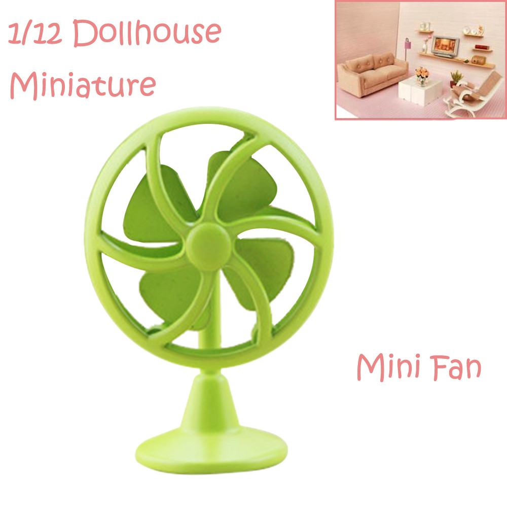 1/12 Miniature Dollhouse Accessories Mini Old Fashioned Lobby Fan Gift Toy