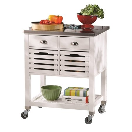 Riverbay Furniture Kitchen Cart with Stainless Steel Top in White