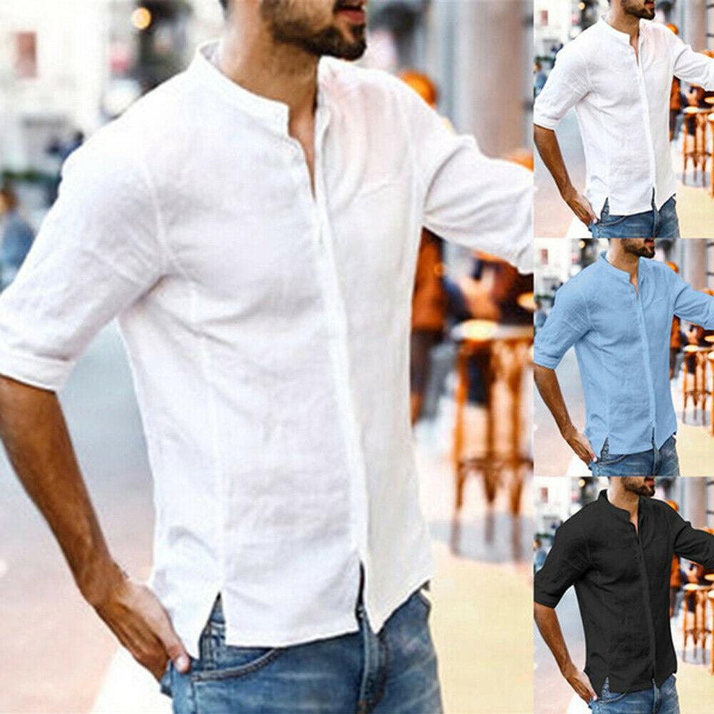 Men/'s Short Sleeve Linen Shirt Loose Summer Casual V-Neck Shirts Tops M-3XL Tee