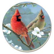 "CounterArt Songbirds Cardinals 4"" Round 4 pack Single Image Coaster Set"